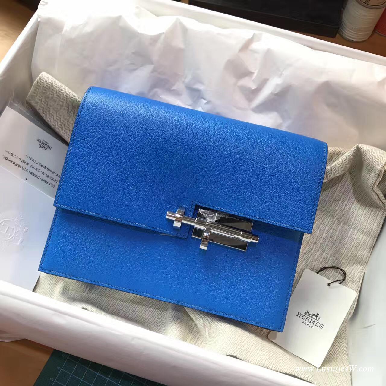 愛馬仕 Verrou Chaine bag 手包最新款手包 T7 Blue Hydra水妖藍