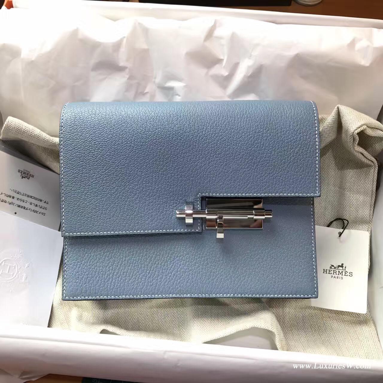 愛馬仕 Herems Verrou Chaine bag 手包最新款手包 J7 Blue Lin亞麻藍算藍色系列