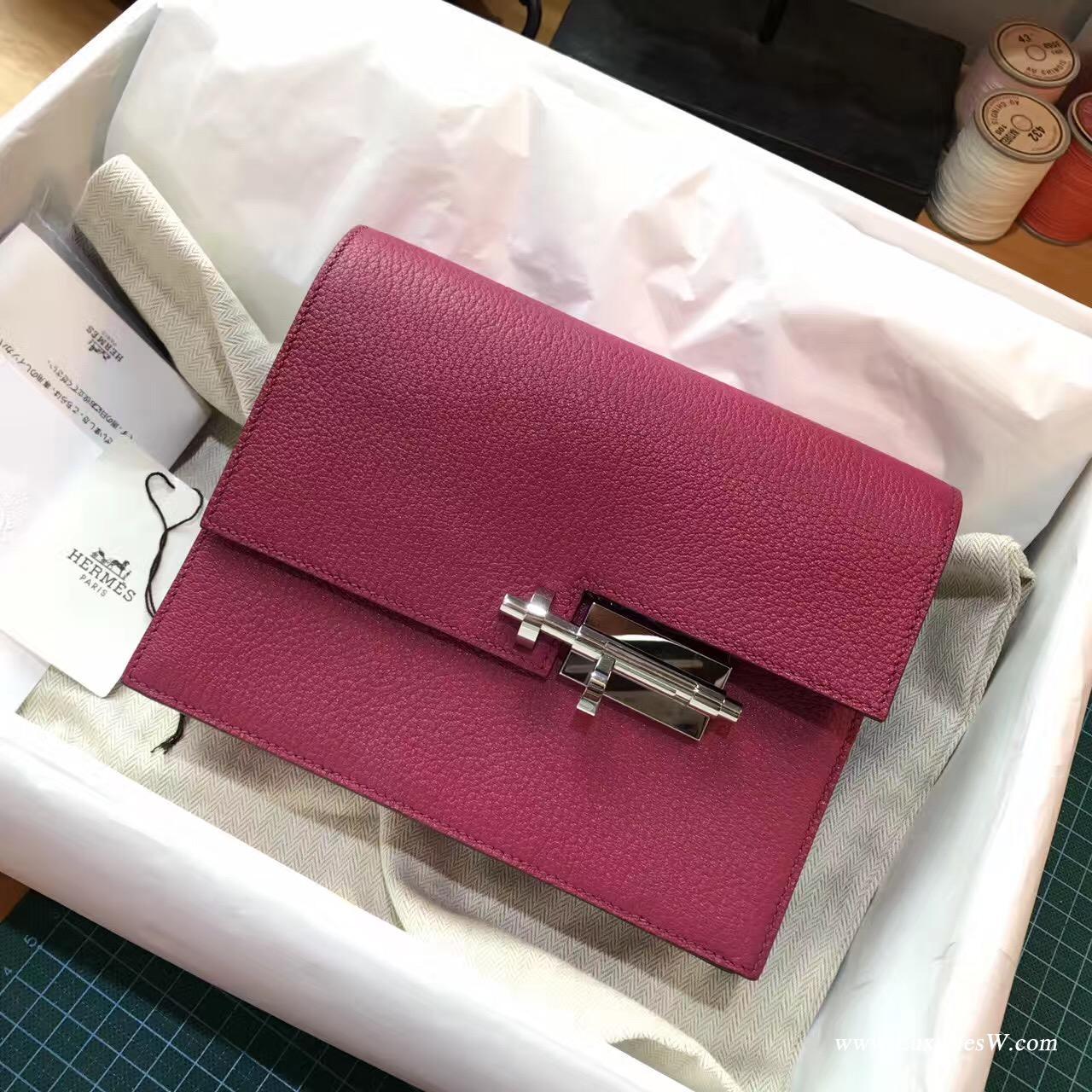 愛馬仕 Herems Verrou Chaine bag 手包最新款手包 糖果玫紅色 山羊皮