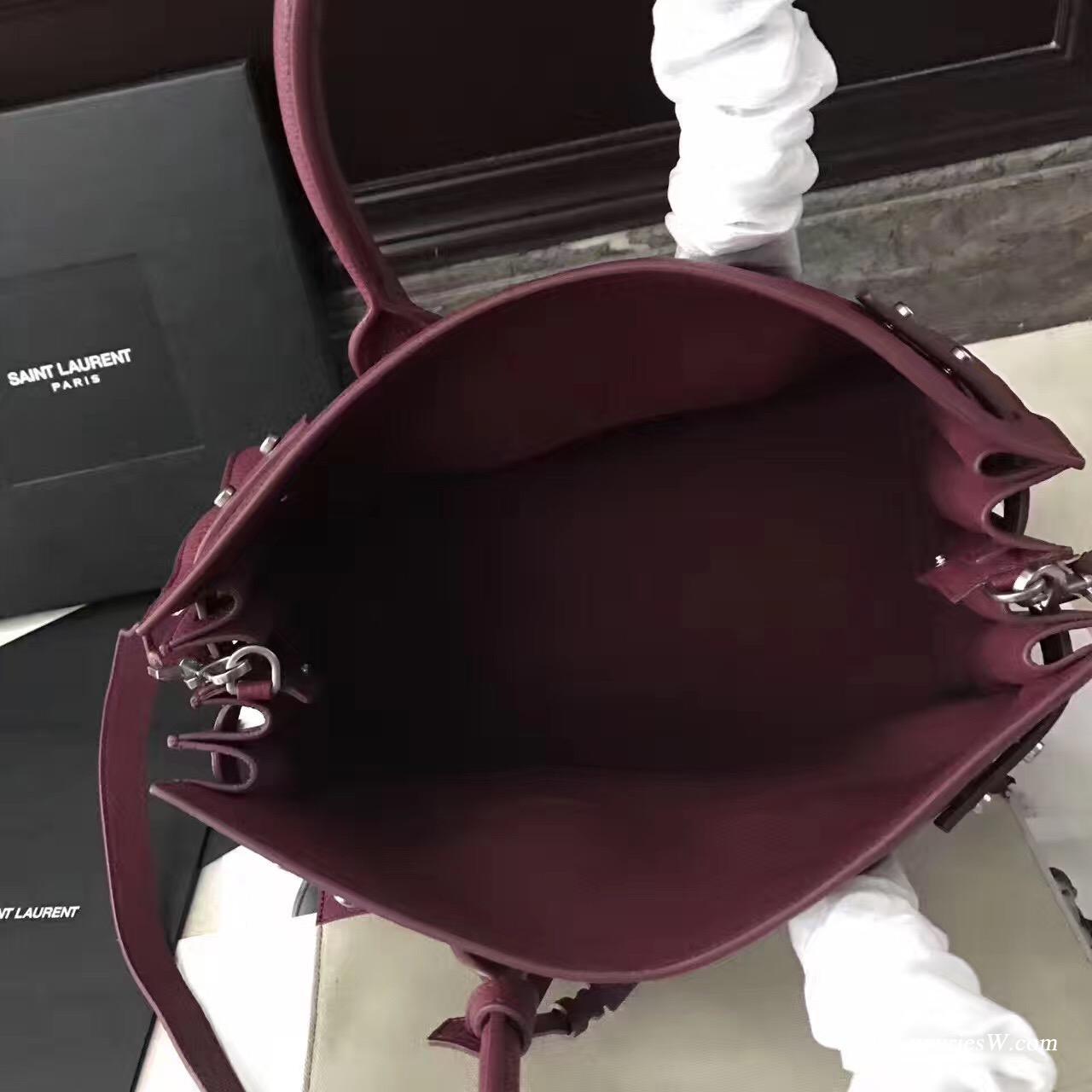 聖羅蘭YSL小号柔和质地SAC DE JOUR包颗粒纹酒红色真皮包