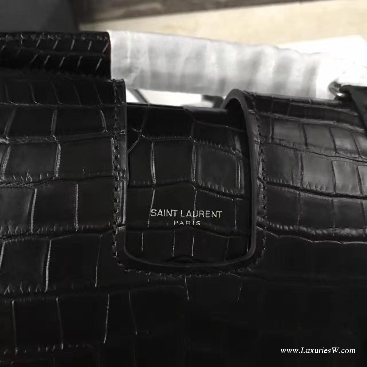 聖羅蘭YSL 大号黑色CHARLOTTE SAINT LAURENT鳄鱼纹斜跨包