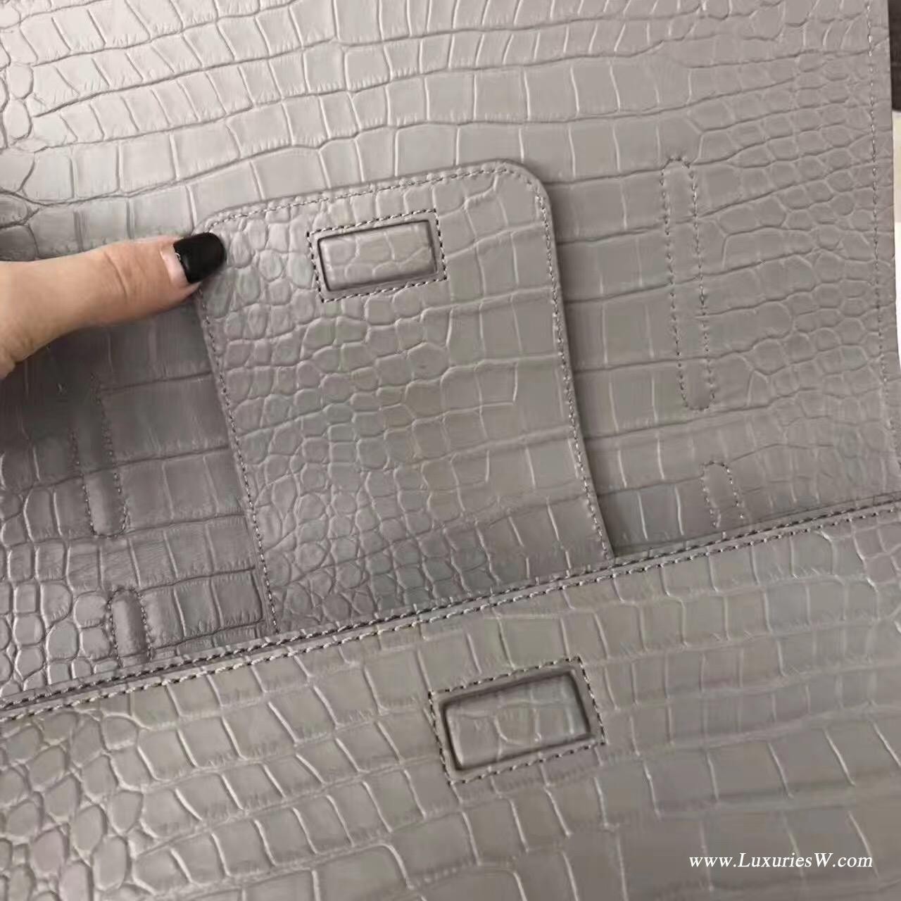 聖羅蘭YSL 大号灰色CHARLOTTE鳄鱼纹斜跨包 SAINT LAURENT手提包
