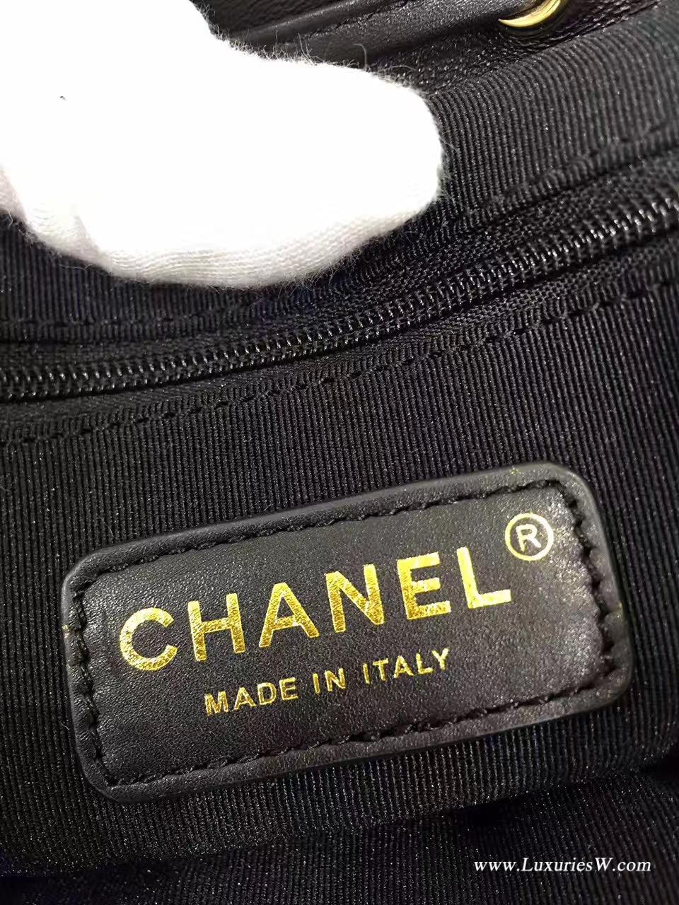 小香經典經典口蓋CF小羊皮黑色backpack coco雙肩背包