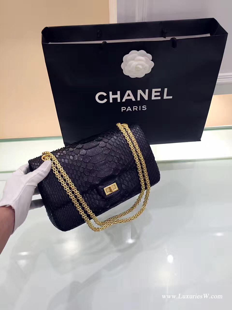 小香Large 2.55 handbag大號 口蓋包復古五金黑色真蟒蛇皮 內里小羊皮