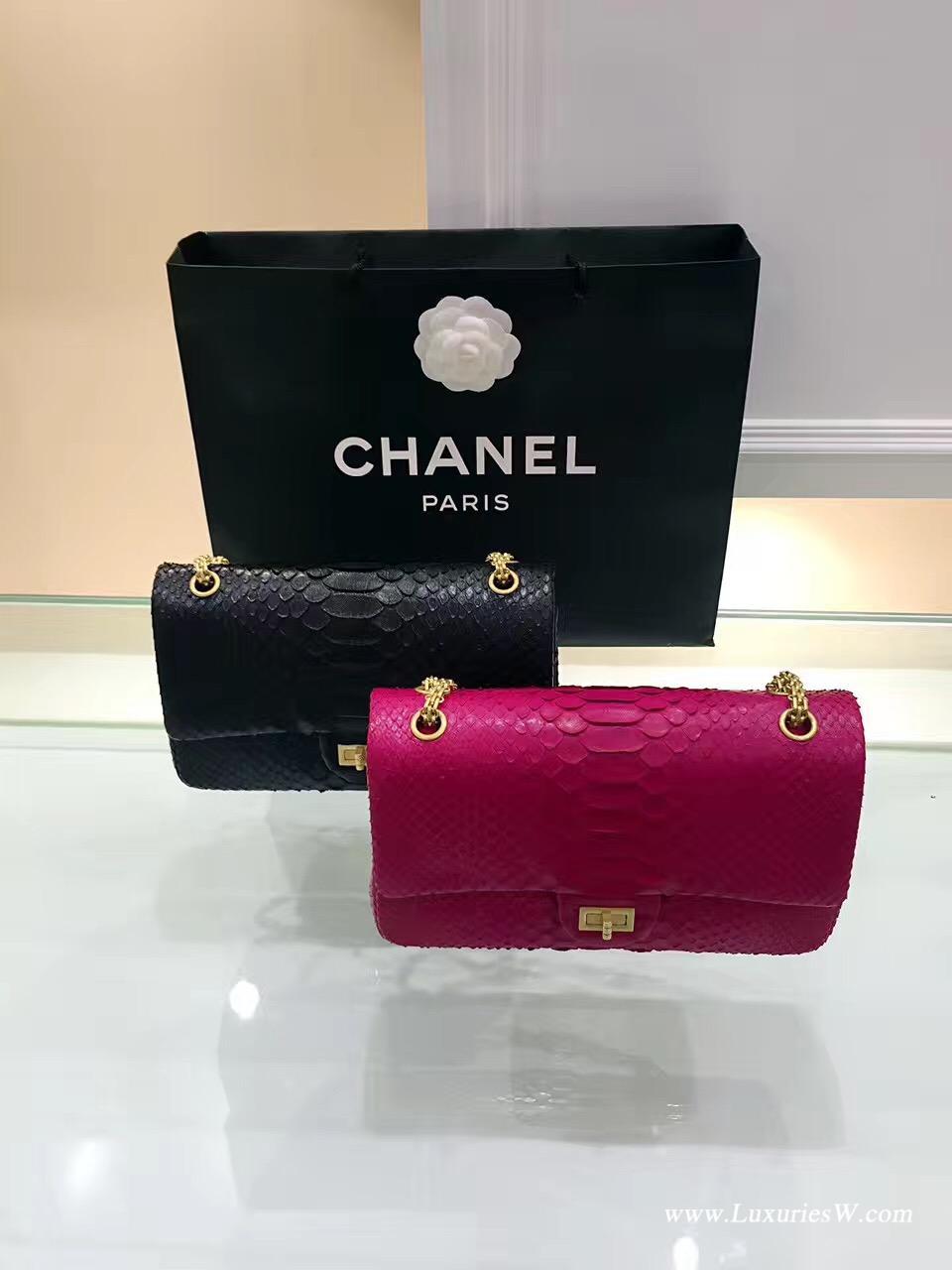 小香經典款 枚紅大號Large 2.55 handbag口蓋包復古五金真蟒蛇皮