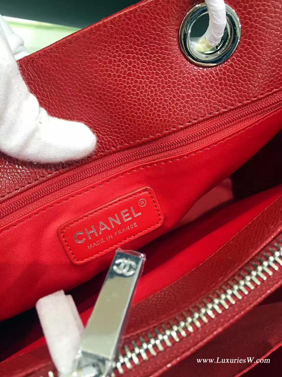 红色GST魚子醬牛皮購物袋 鏈條包全鋼金银五金金属