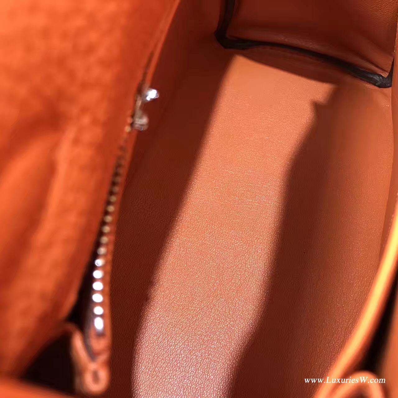 愛馬仕Hermes Kelly 凱莉包 28cm Togo CK93 Orange經典橙银扣
