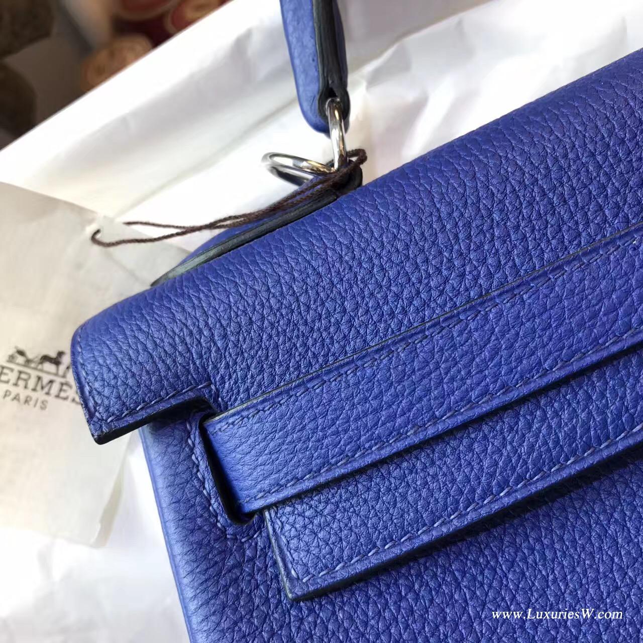 愛馬仕凱莉包Hermes Kelly 32cm Togo 7T Blue Electric電光藍银扣