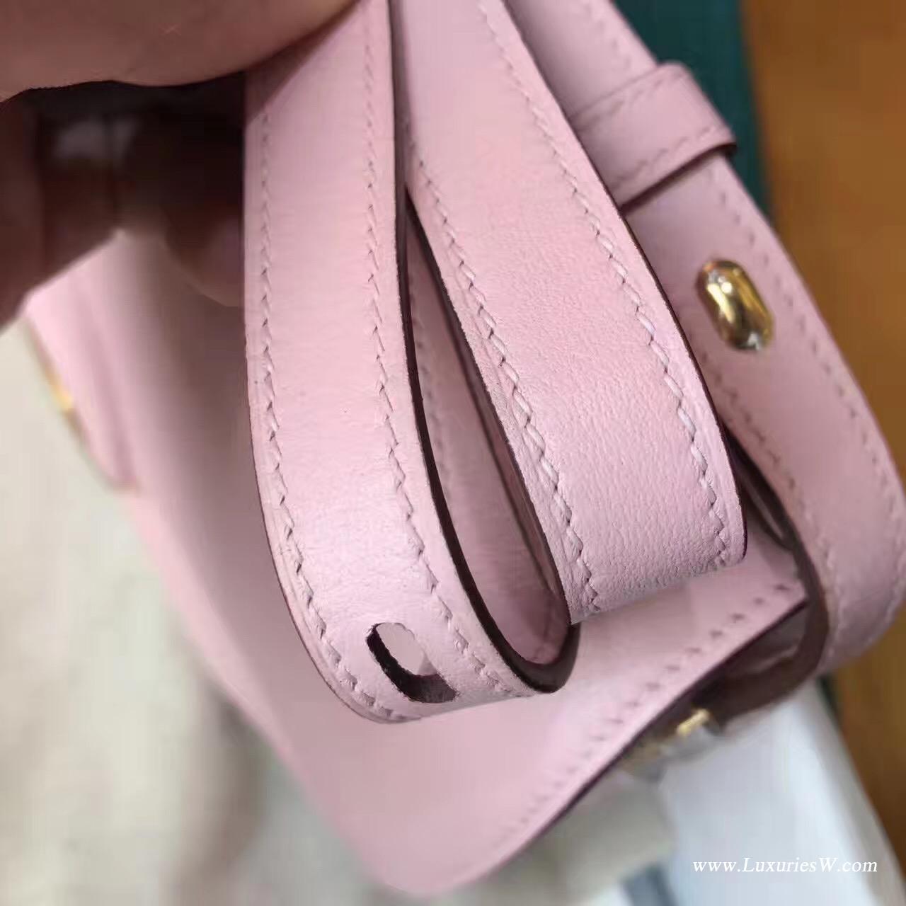 愛馬仕Cherche Epsom 3Q Rose Sakura Swift 新櫻花粉色银扣