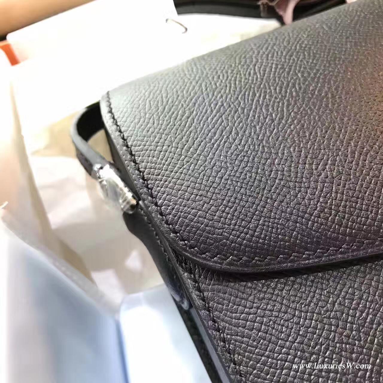 Cherche Epsom黑色25 中號银扣最經典的顏色 百搭Midi鎖扣單肩包