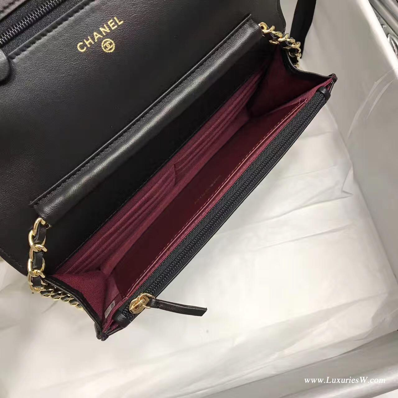 Wallet On Chain V型 小羊皮经典款黑色 金色五金