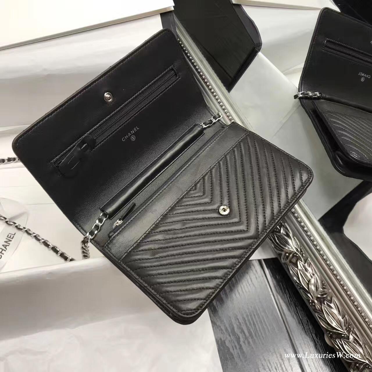 Wallet On Chain V型小羊皮经典款黑色 银色五金