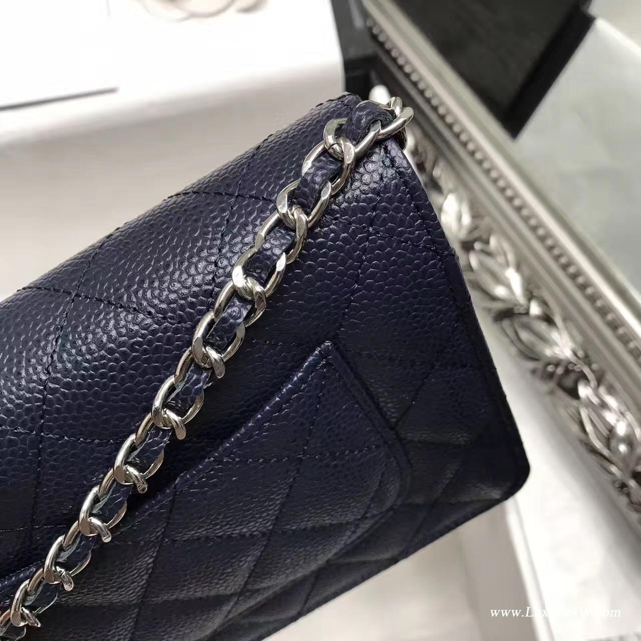 Wallet On Chain鱼子酱经典款宝蓝色 银色五金
