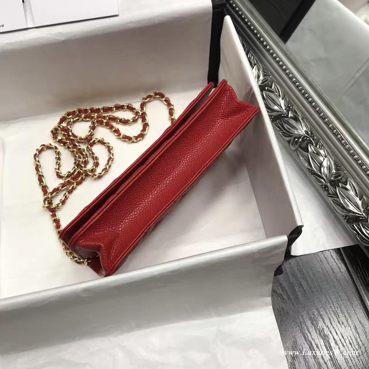 小香 Wallet On Chain魚子醬經典款紅色 金色五金