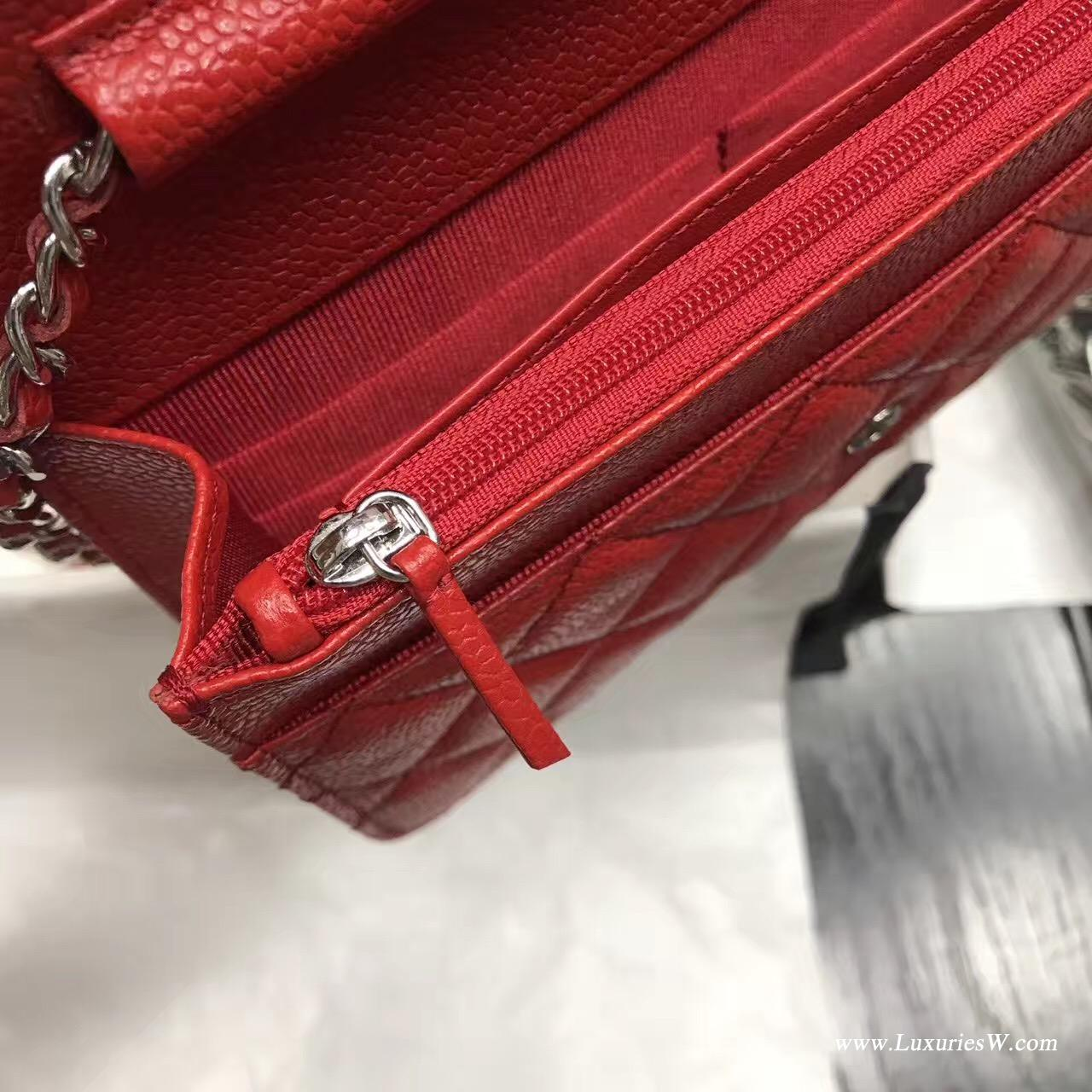 Wallet On Chain鱼子酱经典款红色 银色五
