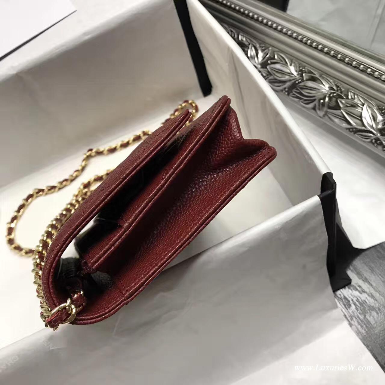 Wallet On Chain魚子醬經典款酒紅色 金色五金