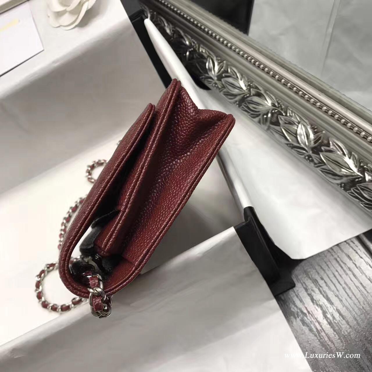 Wallet On Chain鱼子酱经典款酒红色 银色五金