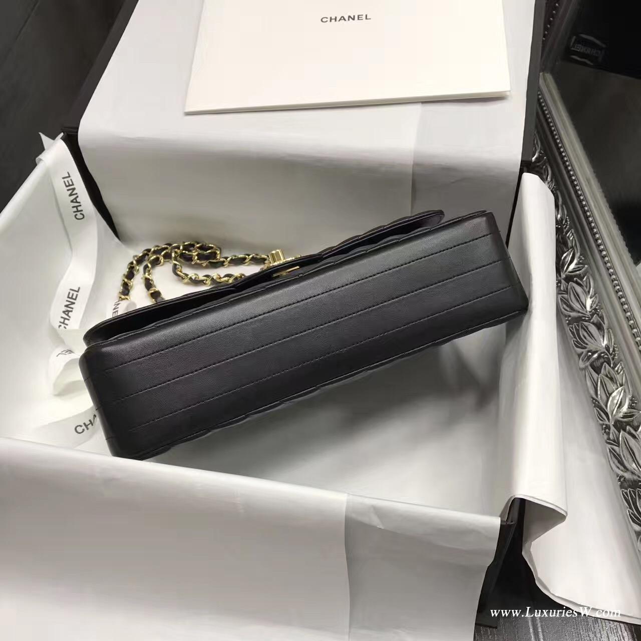小香Classic Flap Bag黑色V型 A01112 口蓋包小羊皮金色金屬