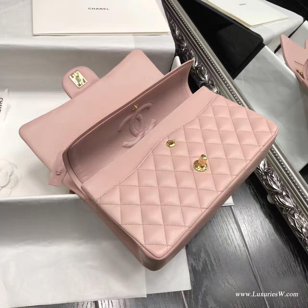 Classic Flap Bag A01112菱格鏈條 口蓋包 小羊皮金色金屬 浅粉色