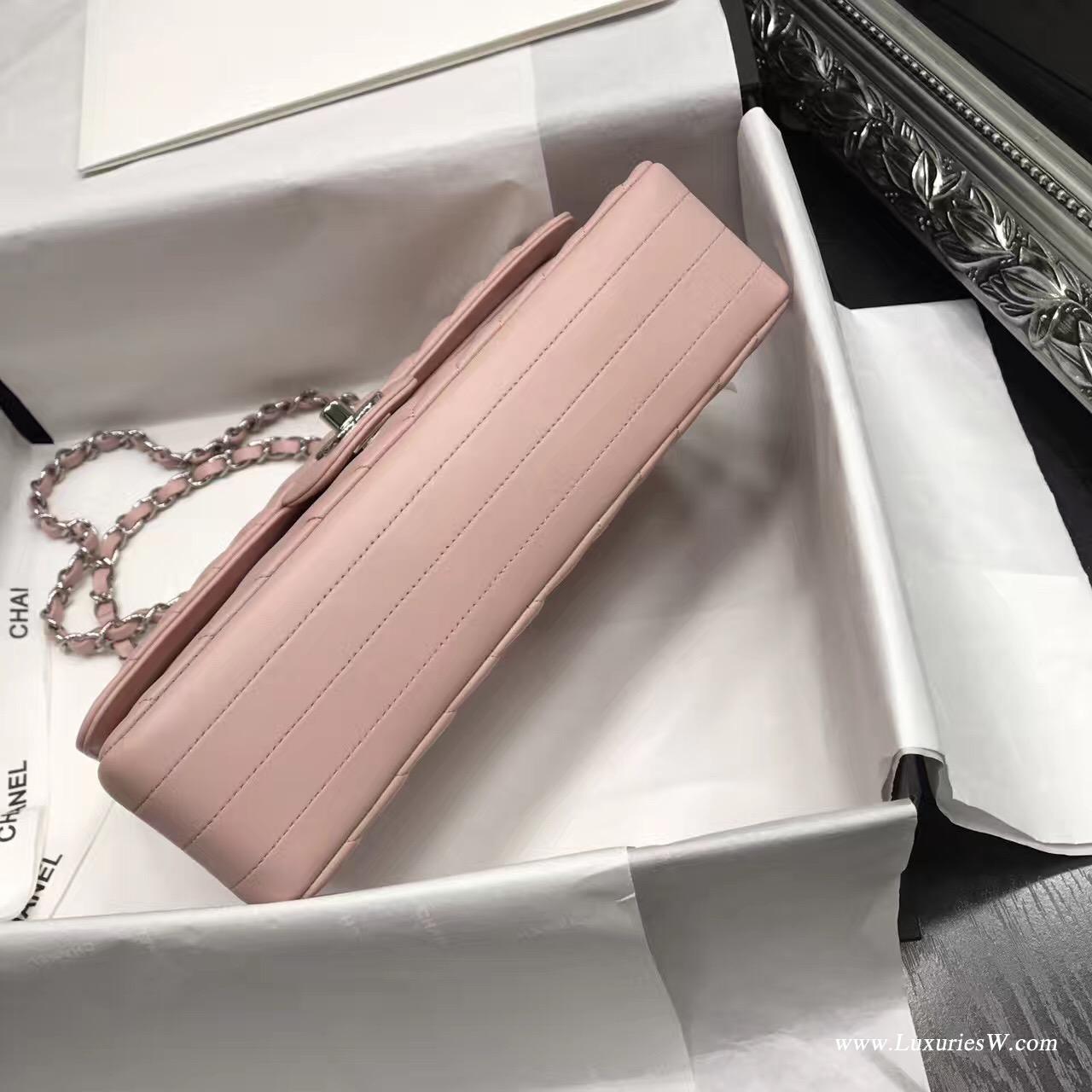 Classic Flap bag A01112菱格鏈條口蓋包V型粉色 小羊皮銀色金屬