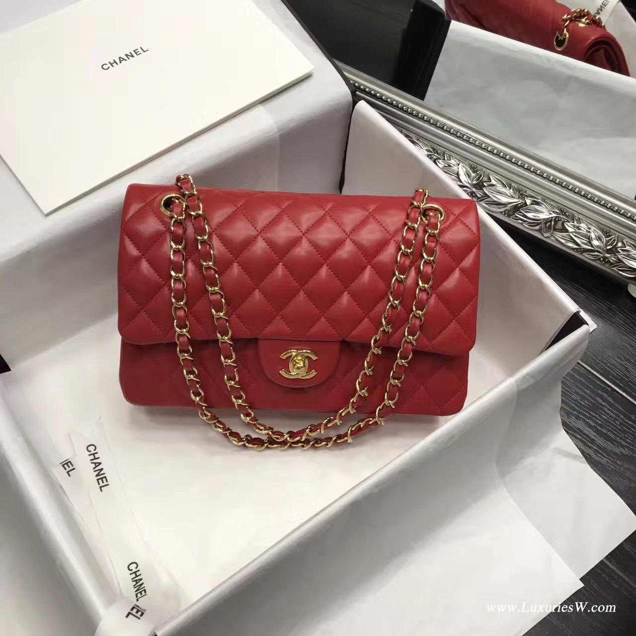 Classic Flap bag A01112菱格鏈條經典口蓋包小羊皮金色紅色