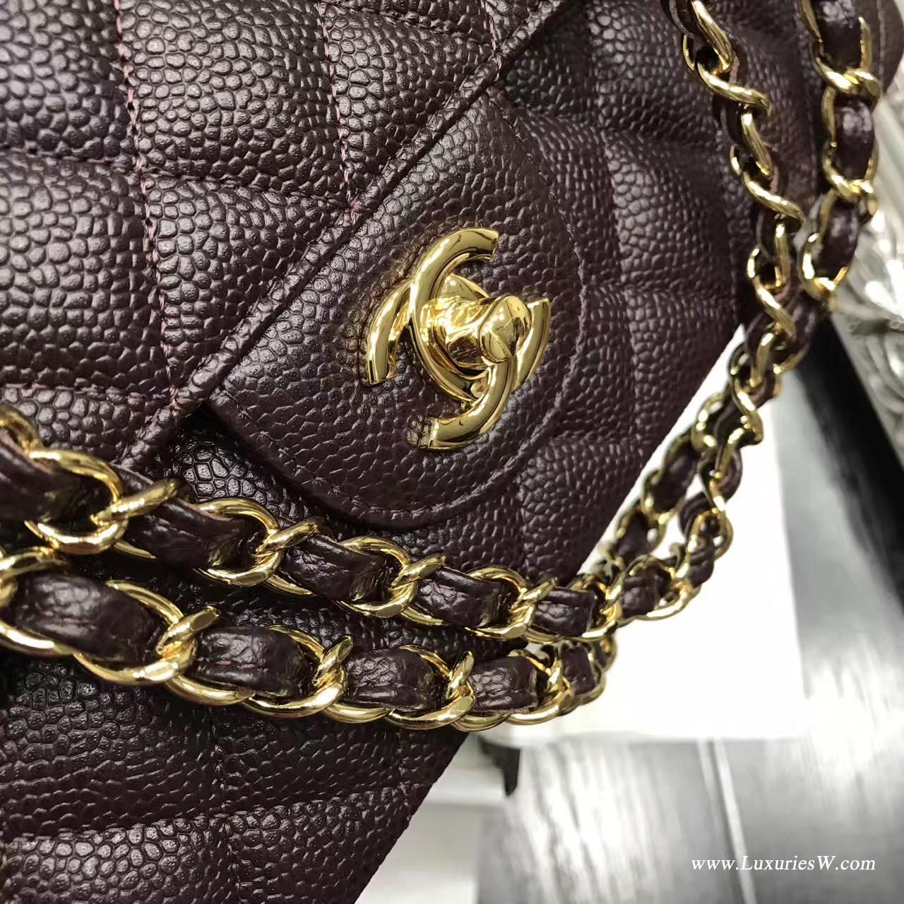 小香Classic Flap bagA01112菱格鏈條口蓋包 深啡 魚子醬 金色