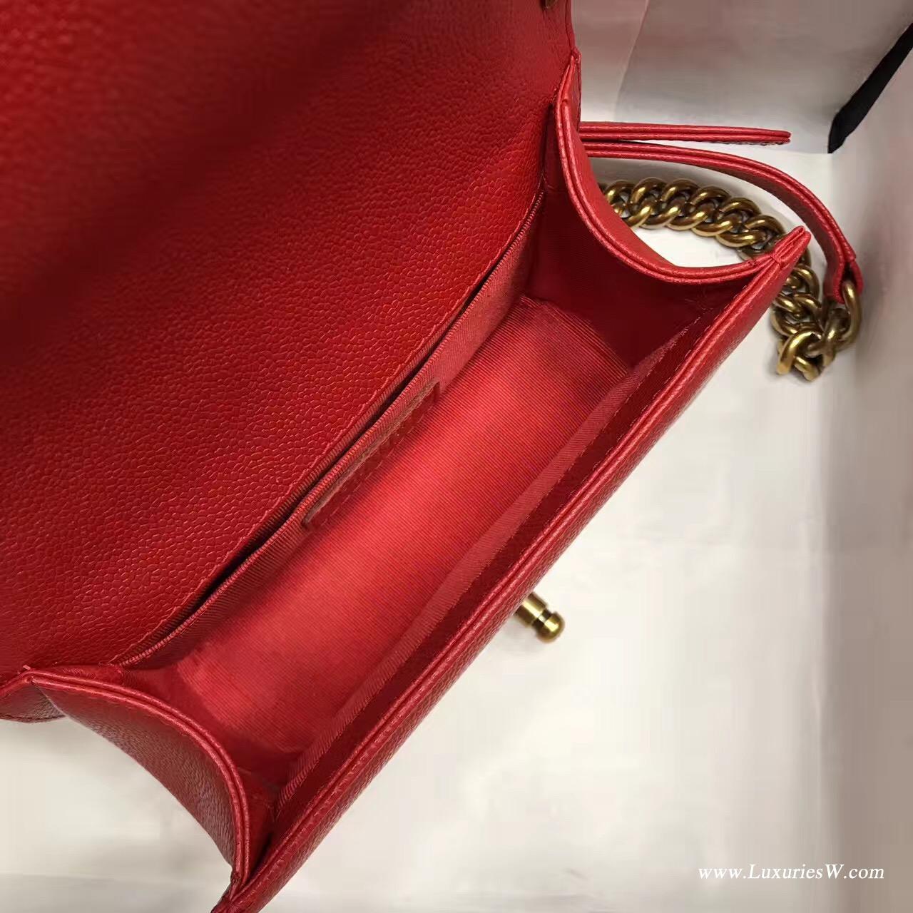 小號Leboy bag 20CM 口蓋包 红色魚子醬 顆粒壓花小牛皮與金色