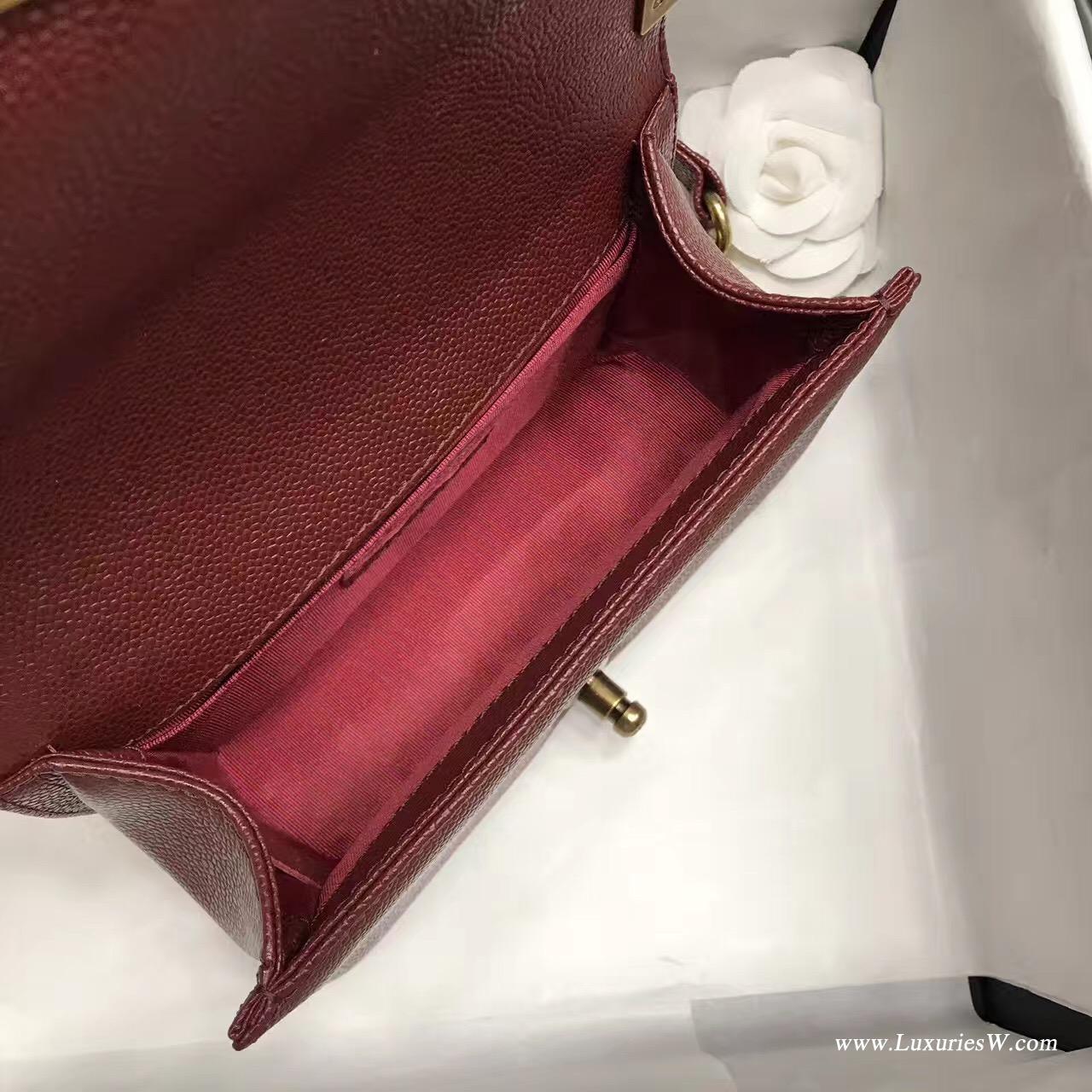 小香小號Leboy bag 20CM 口蓋包 棗紅色魚子醬顆粒壓花小牛皮與金色