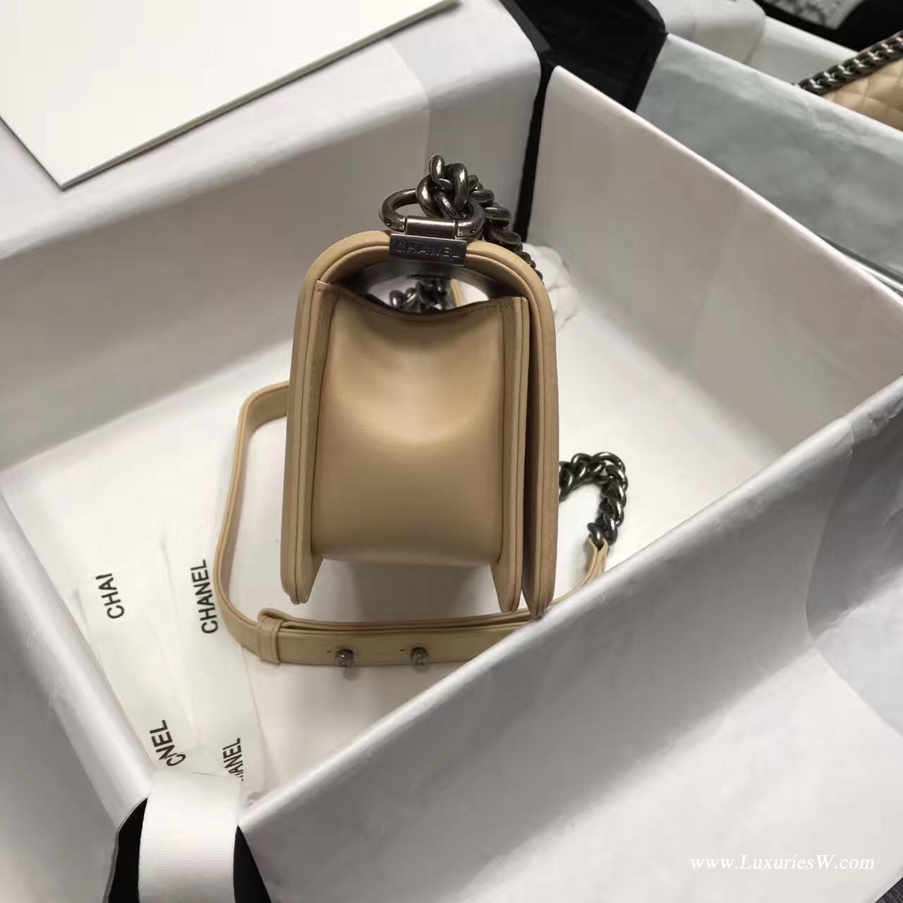 小香Leboy bag小號 20CM 口蓋包 杏色 小羊皮銀色金屬