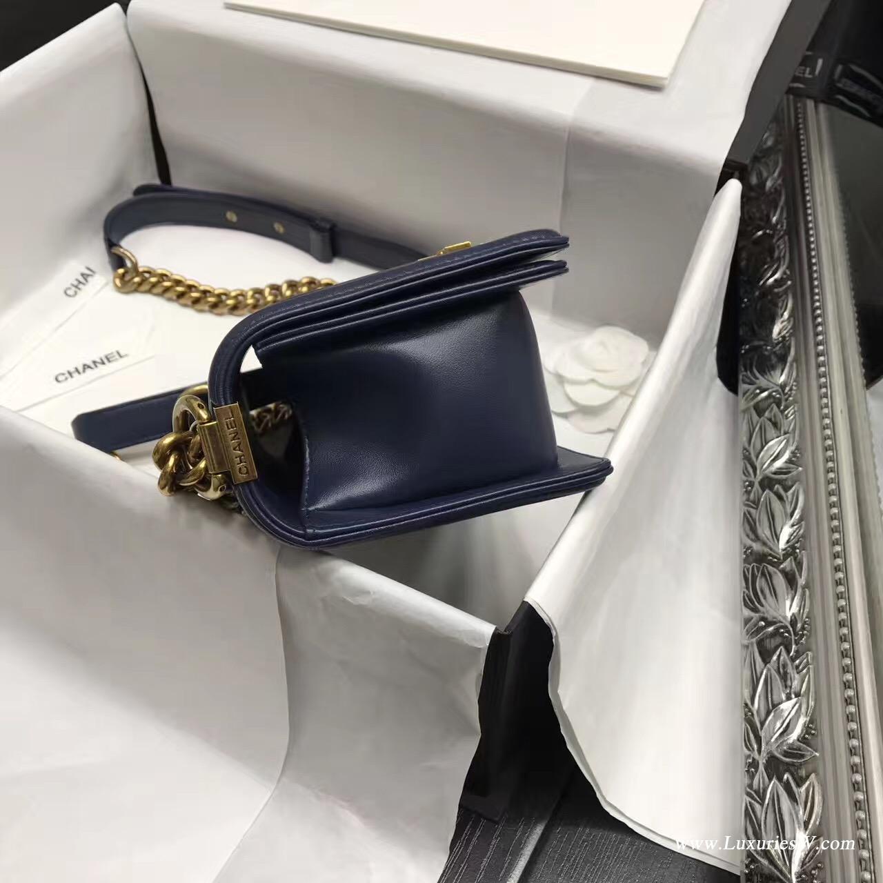 小香Leboy bag小號 20CM 口蓋包 海軍藍色 小羊皮金色金屬