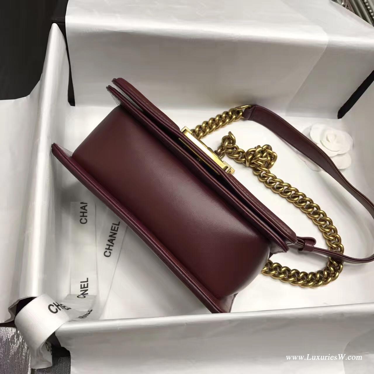 小香Leboy bag小號MINI 20CM 口蓋包 枣红色 小羊皮金色金屬五金