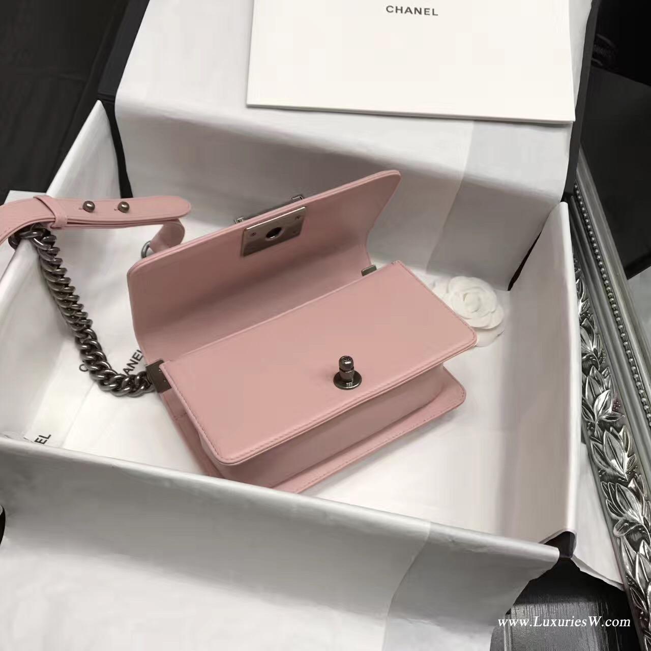 小香mini Leboy bag小號20CM 口蓋包 粉色 小羊皮銀色金屬五金
