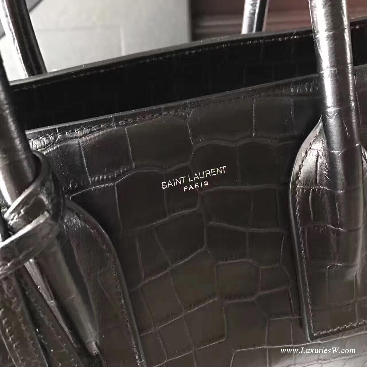 聖羅蘭YSL黑色 小號柔和質地小牛皮鱷魚紋 SAC DE JOUR包
