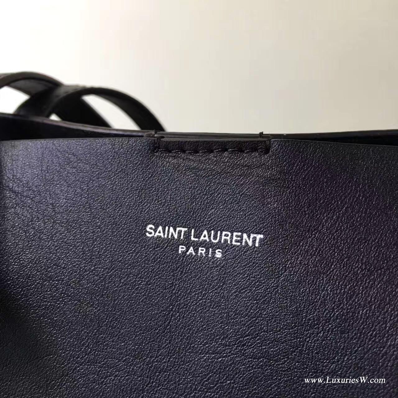 YSL大號黑色真皮流蘇SAINT LAURENT手提購物袋