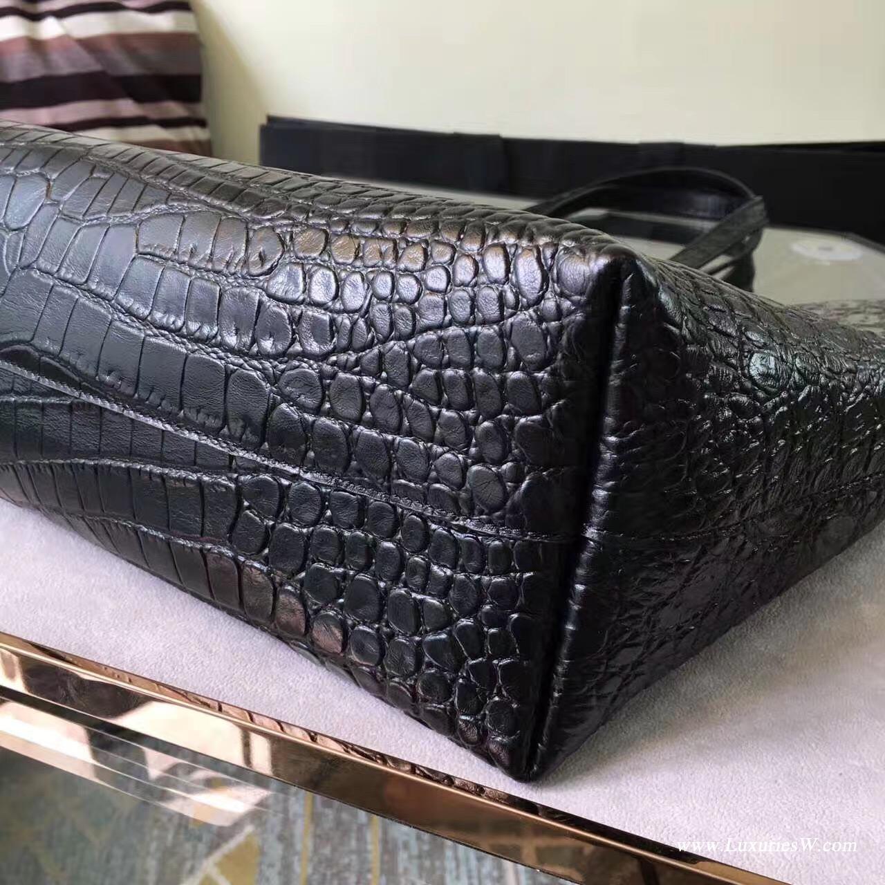 YSL大號黑色真皮鳄鱼纹SAINT LAURENT手提購物袋
