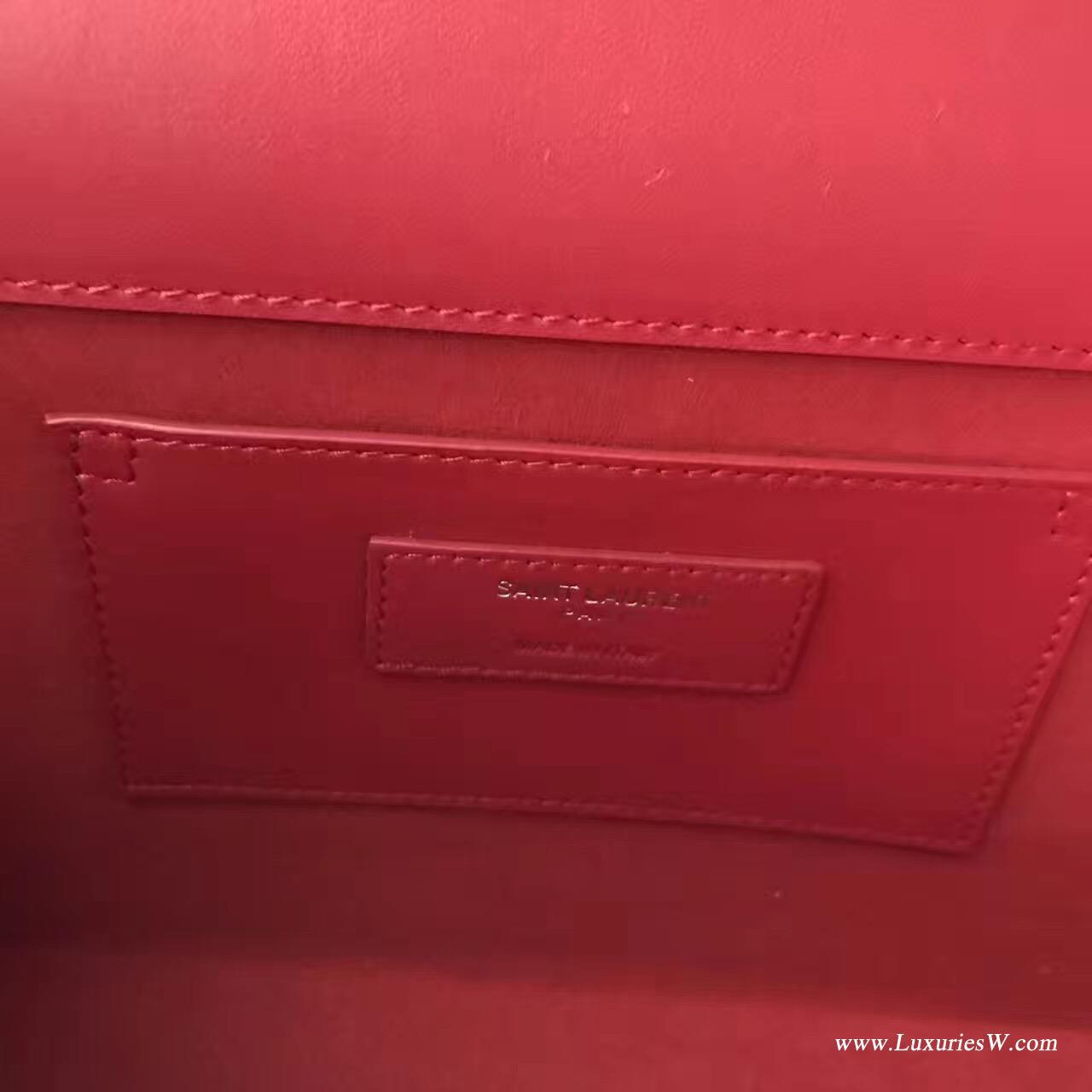 聖羅蘭YSL 經典 MONOGRAM 中號大紅色流蘇肩背包銀色金屬