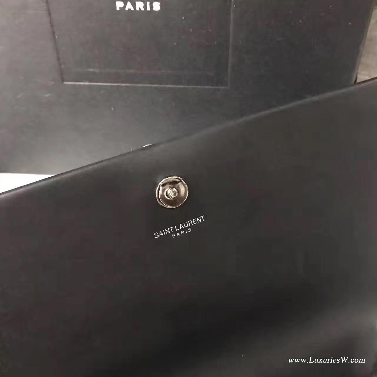 聖羅蘭YSL 經典 MONOGRAM 中號黑色流蘇肩背包銀色金屬