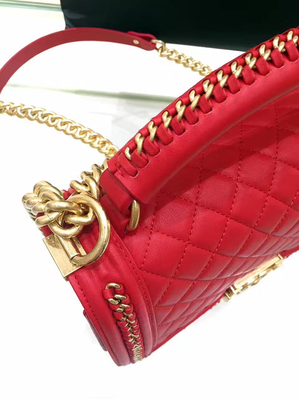 小香包 Leboy bag 28 cm 红色口蓋包 配以手柄鏈條包
