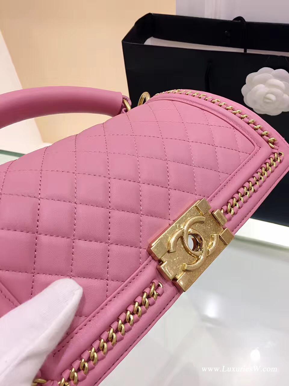小香包 Leboy bag 28CM粉色口蓋包 配以手柄鏈條包