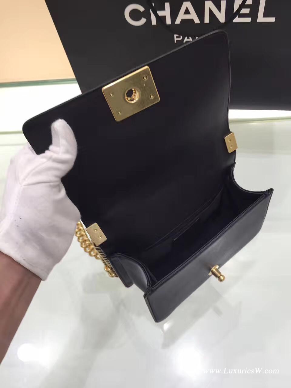 小香小牛皮 LE BOY 25cm 20cm黑色口蓋包 配手柄鏈條包