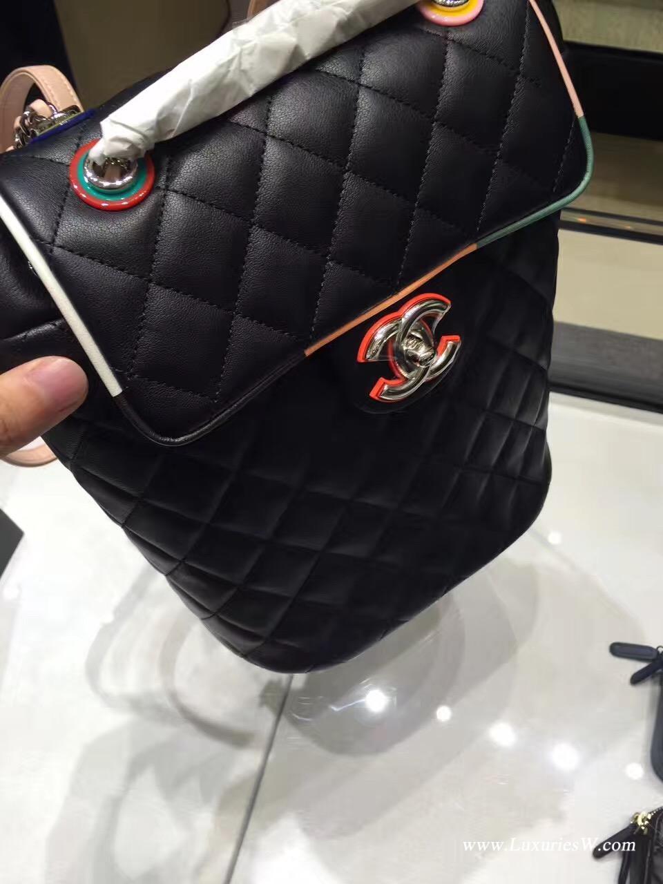小香经典coco菱格链条拼色双肩背包backpack 原厂小羊皮黑色