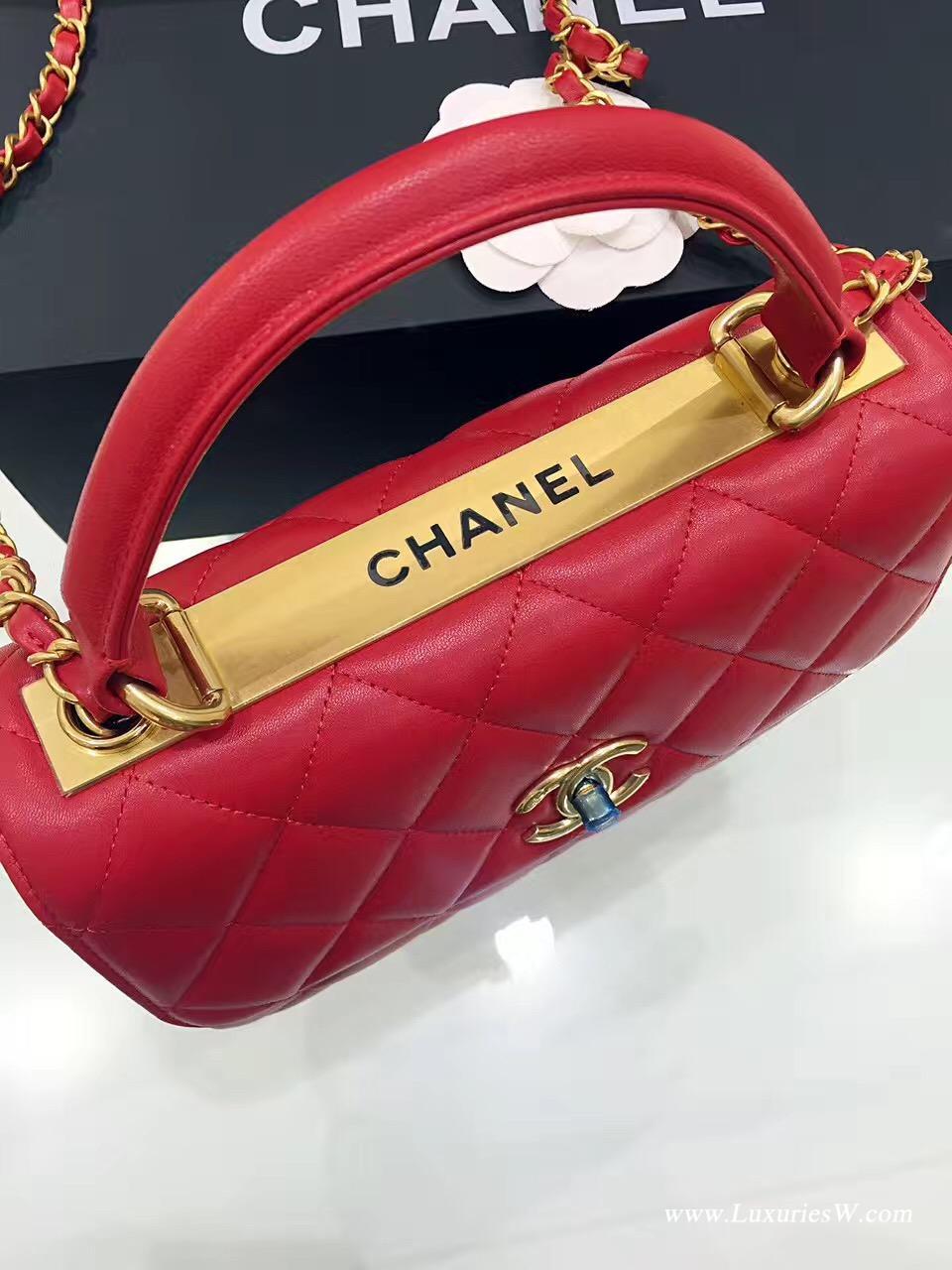 小香女包口蓋包 配以手柄 Salzburg Bag 紅色羊皮 金色金屬五金手提包