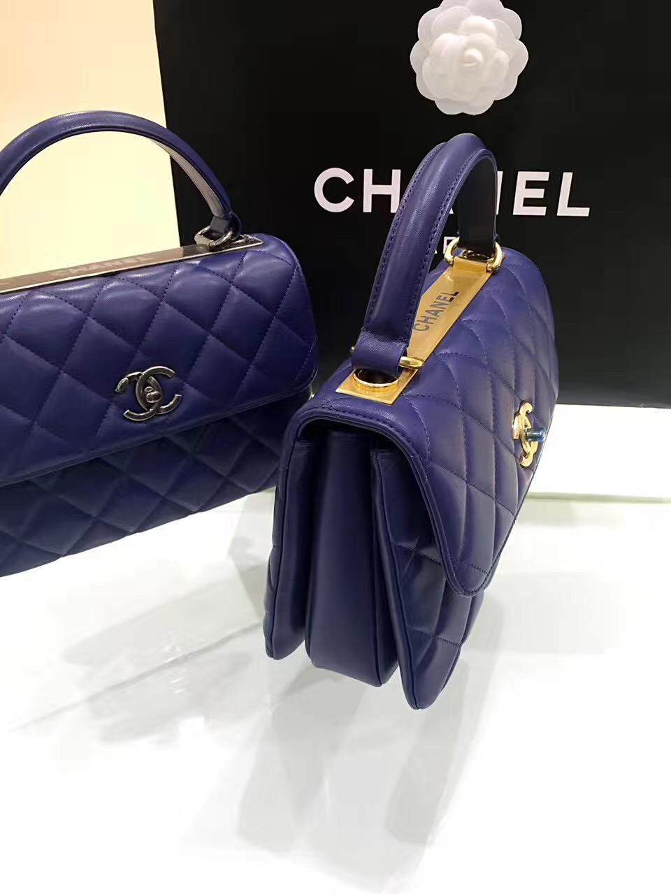 小香女包口蓋包 配以手柄 Salzburg Bag 海军蓝色羊皮復古公文包