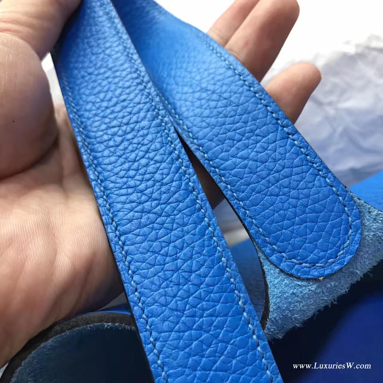 爱马仕锁头包 Taiwan Hermes Picotin Lock 22cm 菜篮子 水桶包 T7 Hydra 水妖蓝 银扣