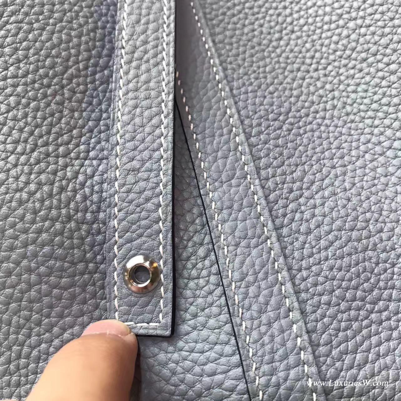 Taiwan Hermes Picotin Lock 22cm 菜篮子 水桶包 J7 BlueLin亚麻蓝