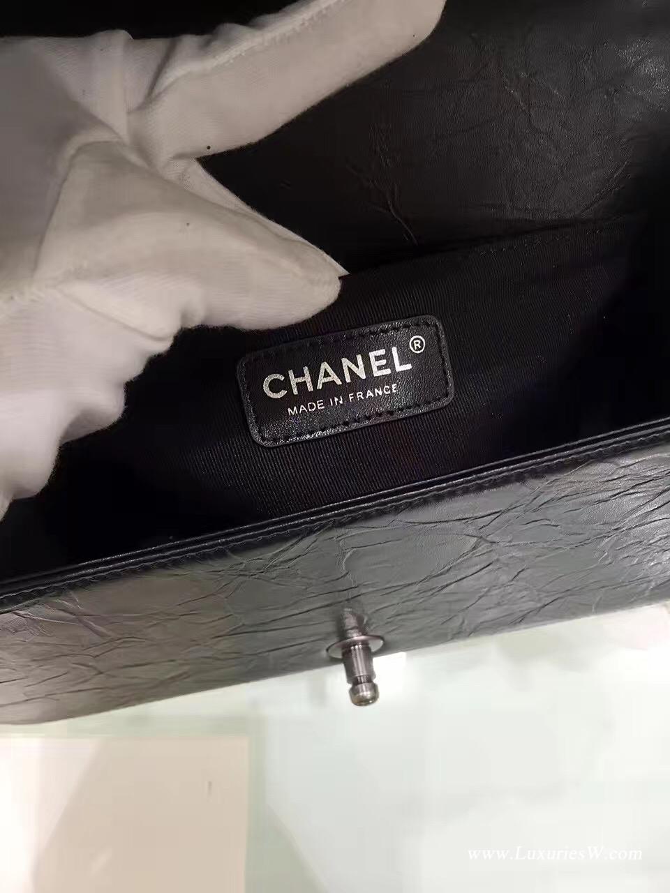 小香包 Leboy bag 配縫鏈條邊 小牛皮黑色口蓋包