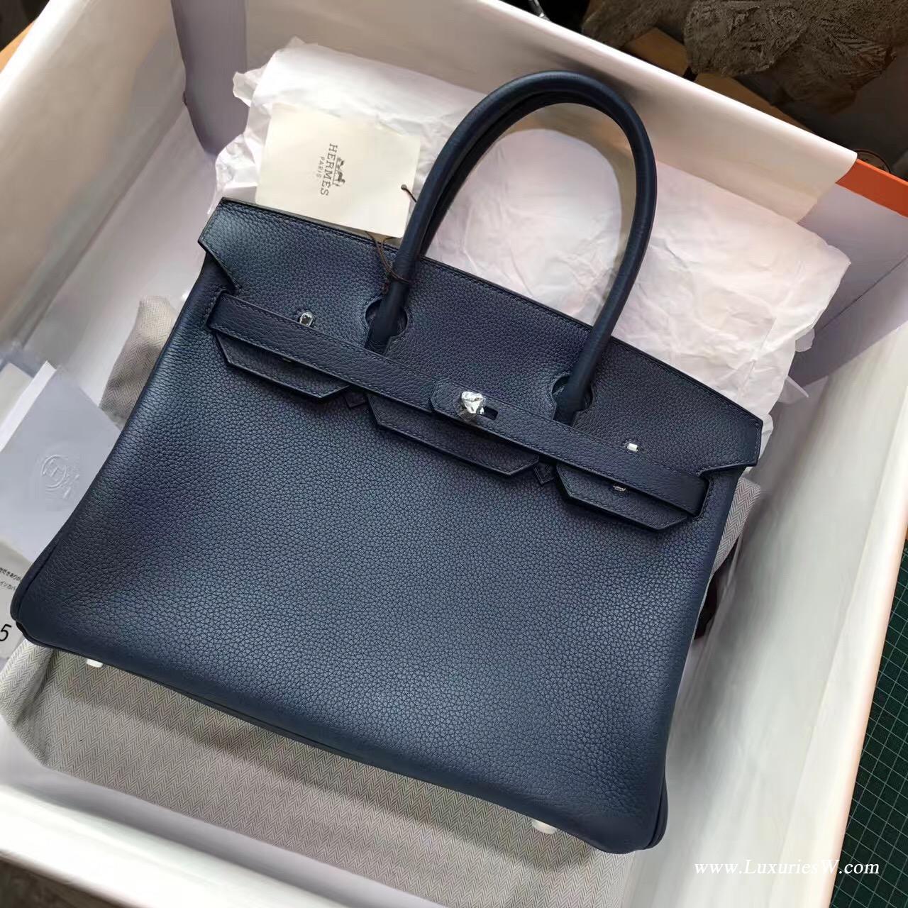 愛馬仕hermes 鉑金包Birkin包袋30 togo CK73 Blue Sphir寶石藍色