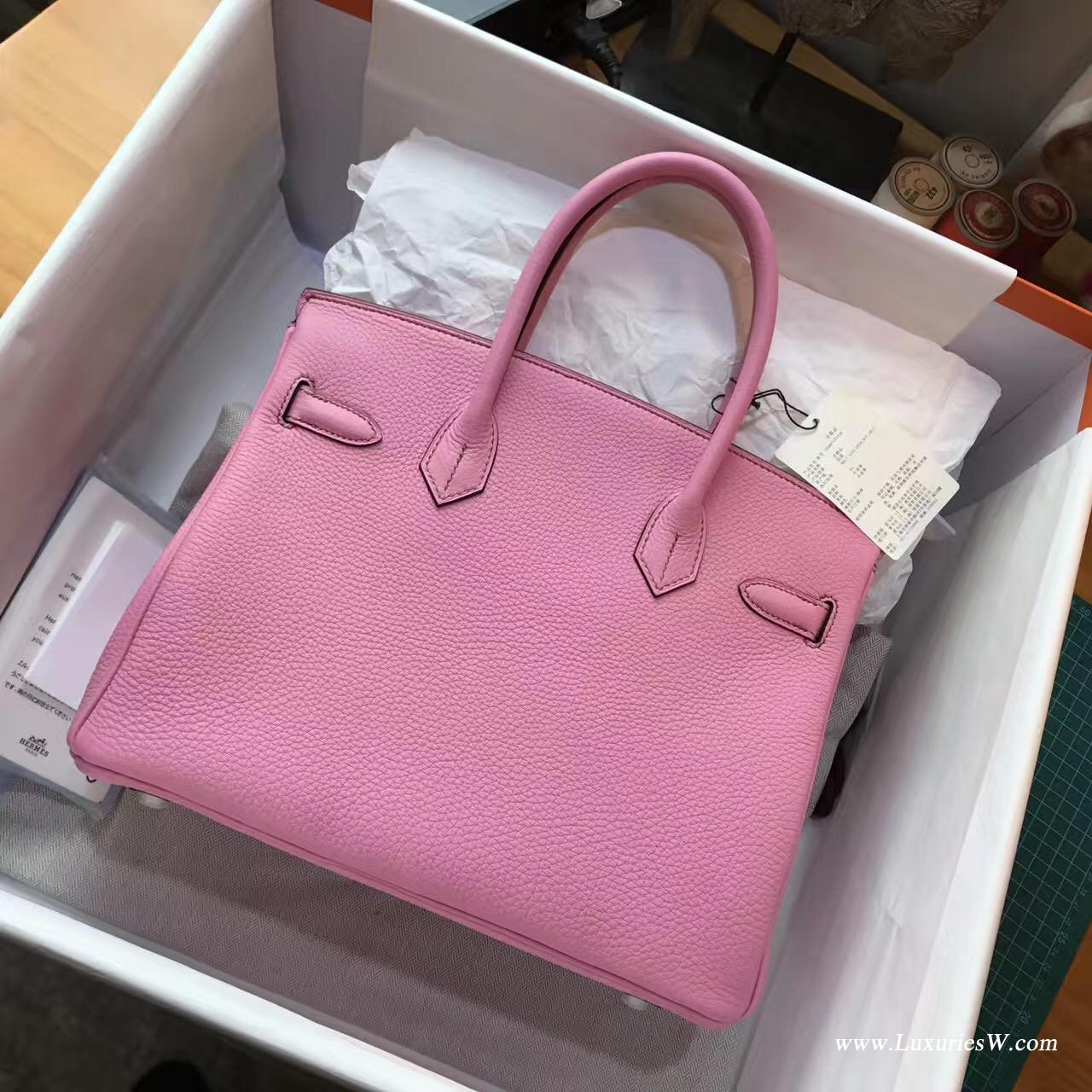 愛馬仕hermes 鉑金包Birkin 30 togo 5P Pink櫻花粉色銀扣