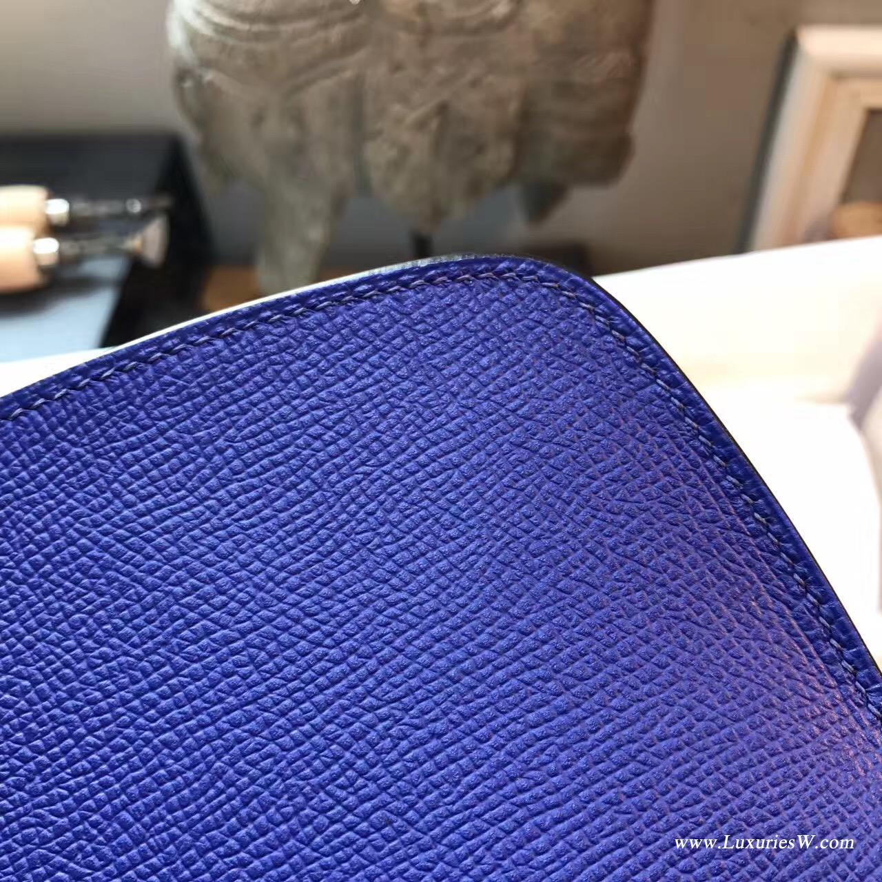 愛馬仕Cherche Epsom 25 7T Blue Electric 電光藍金扣