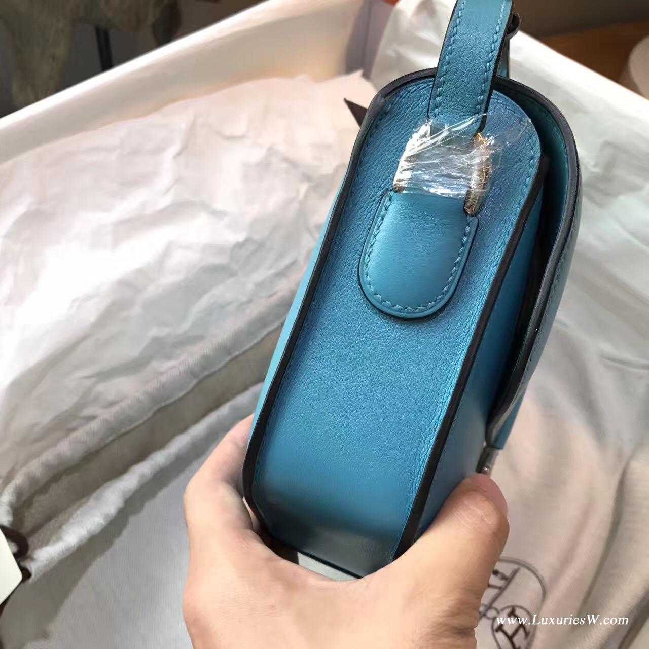 愛馬仕Midi鎖扣單肩包Cherche 25小牛皮 Blue Lzmir伊茲密爾藍
